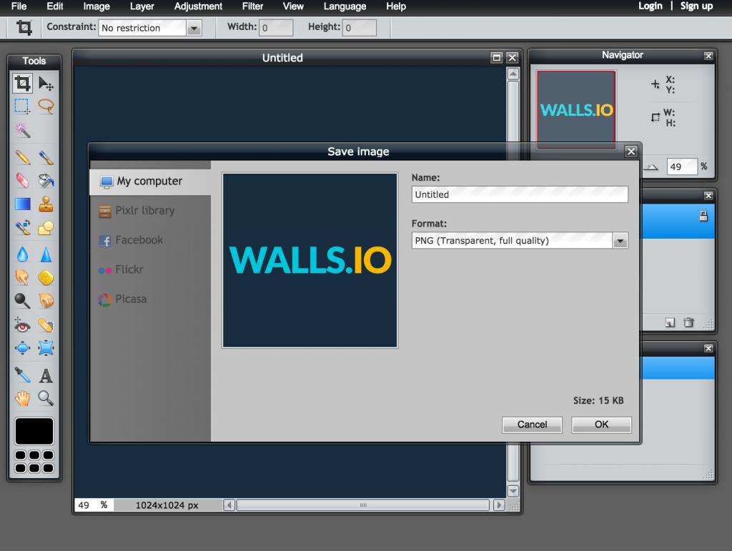 Screenshot of Pixlr Editor web app