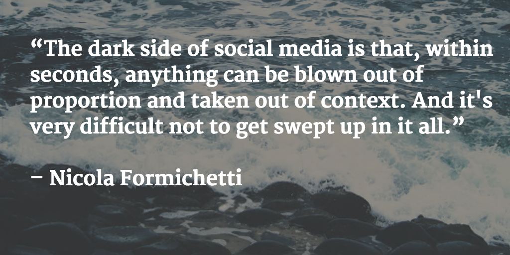 A social media photo made with Buffer's Pablo web app, featuring a quote by Nicola Formichetti on an ocean wave background
