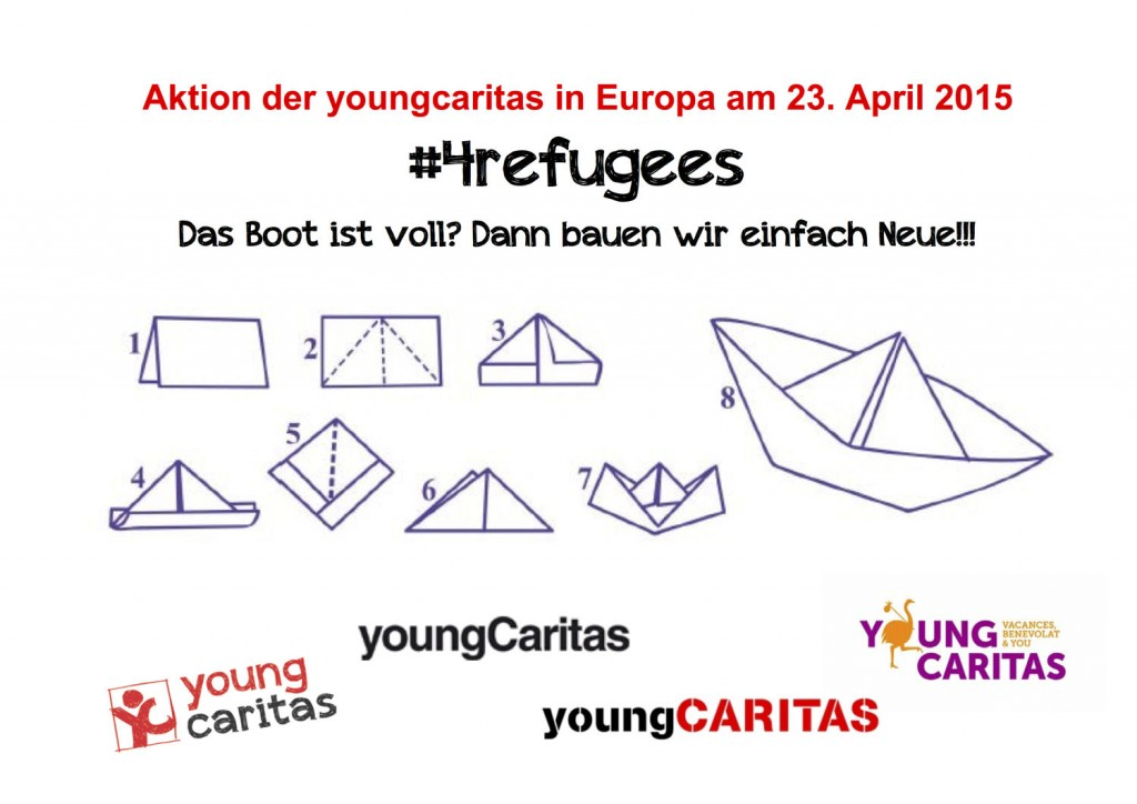 postcard explaining how to take part in the #4refugees boat campaign