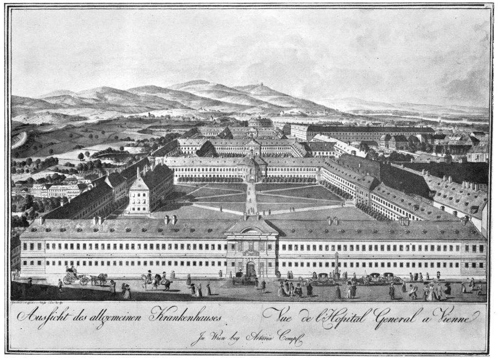 A black and white illustration from 1784, depicting of the area which used to be Vienna's General Hospital, now the location of the University Campus.