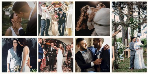 Collage of wedding photos showing a variety of couples of all genders and orientations.