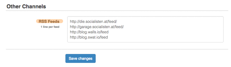 Walls.io / RSS Feeds / Other Channels