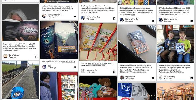 The #buecherfahrenzug social media wall on walls.io.