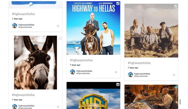 The embedded #highwaytohellas social media wall.