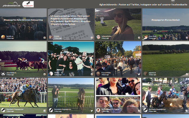 Screenshot of the Hoppegarten's #glueckdererde social media wall.