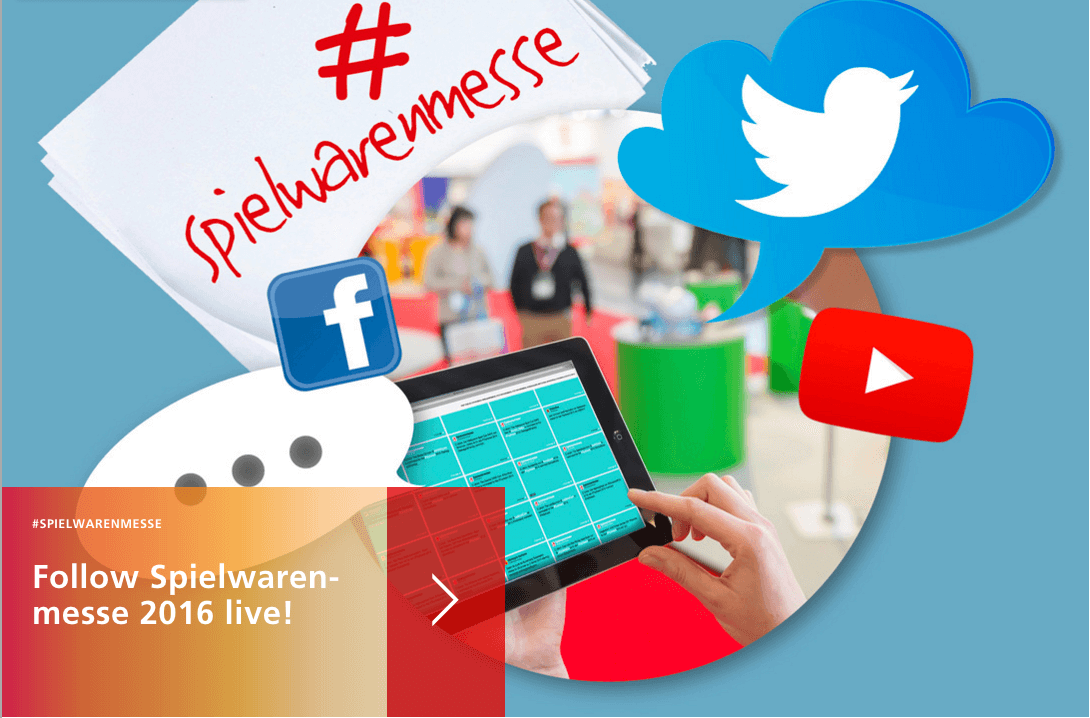 A screenshot of the social wall teaser on the Spielwarenmesse homepage