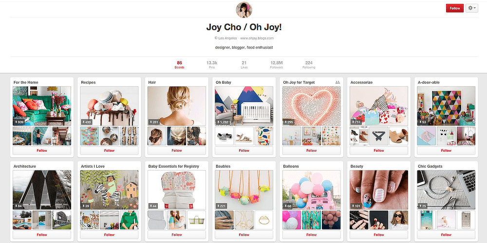 Pinterest user Joy Cho