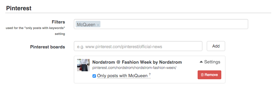 Decide which pins from Pinterest boards are shown on your social wall