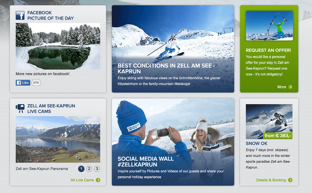 Screenshot of the social hub teaser on the Zell am See-Kaprun website