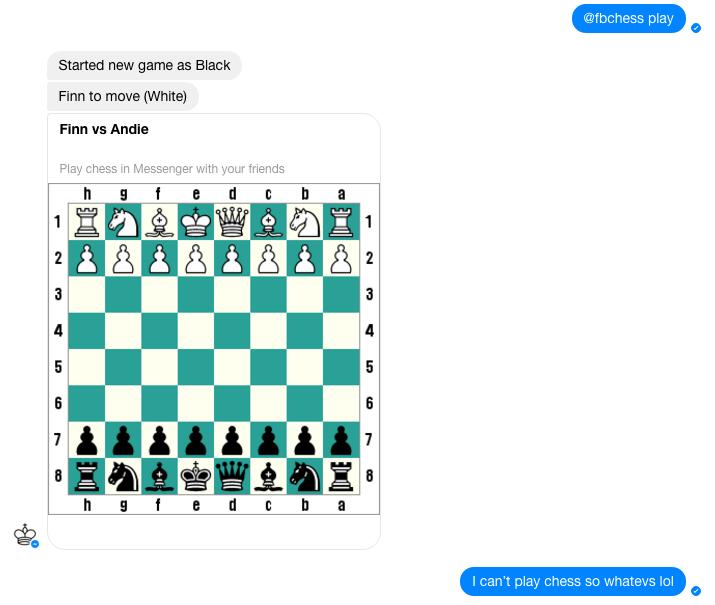 Screenshot of hidden chess game in Facebook Messenger