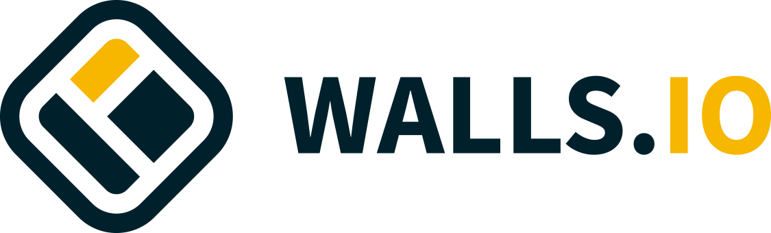 The new Walls.io logo in combination with the new logotype