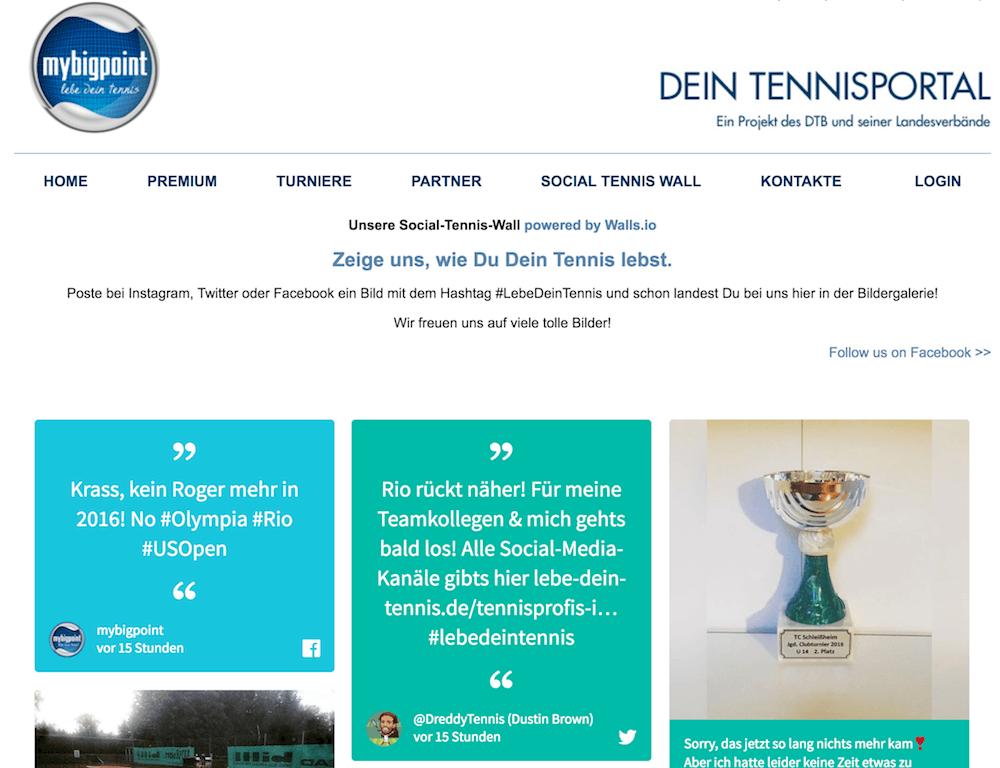 Screenshot of the #lebedeintennis social wall on mybigpoint.tennis.de