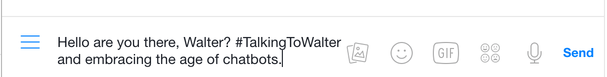 Walter can post to social media walls for you if you use the right hashtag.