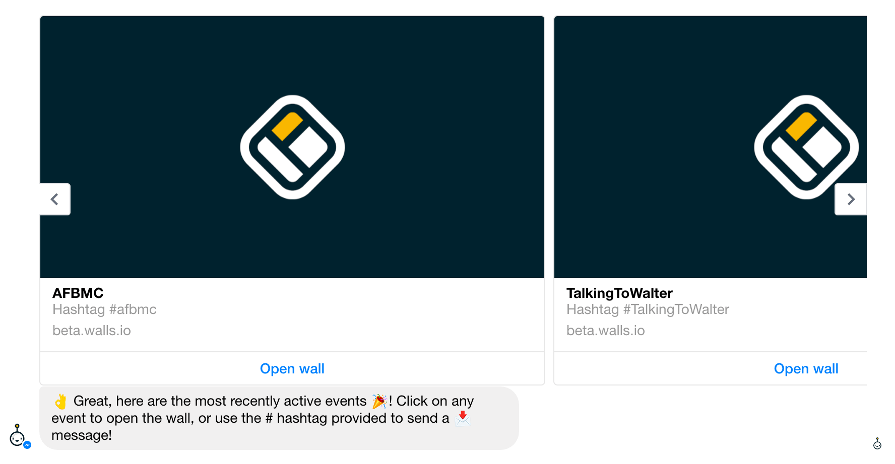 Walter shows you all walls he is set up for within Facebook Messenger