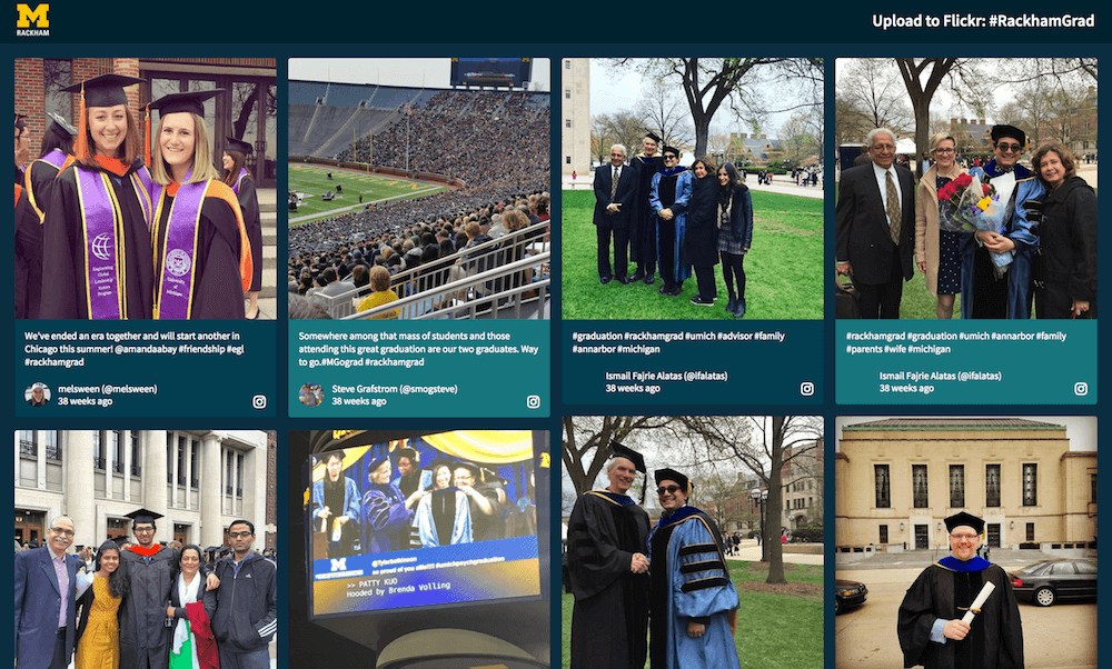University of Michigan's Rackham College uses Walls.io as a social media wall for graduation