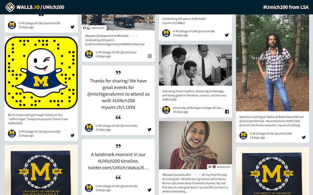 University of Michigan's College of Literature, Science and the Arts uses Walls.io as a social wall for the university's bicentennial in 2017