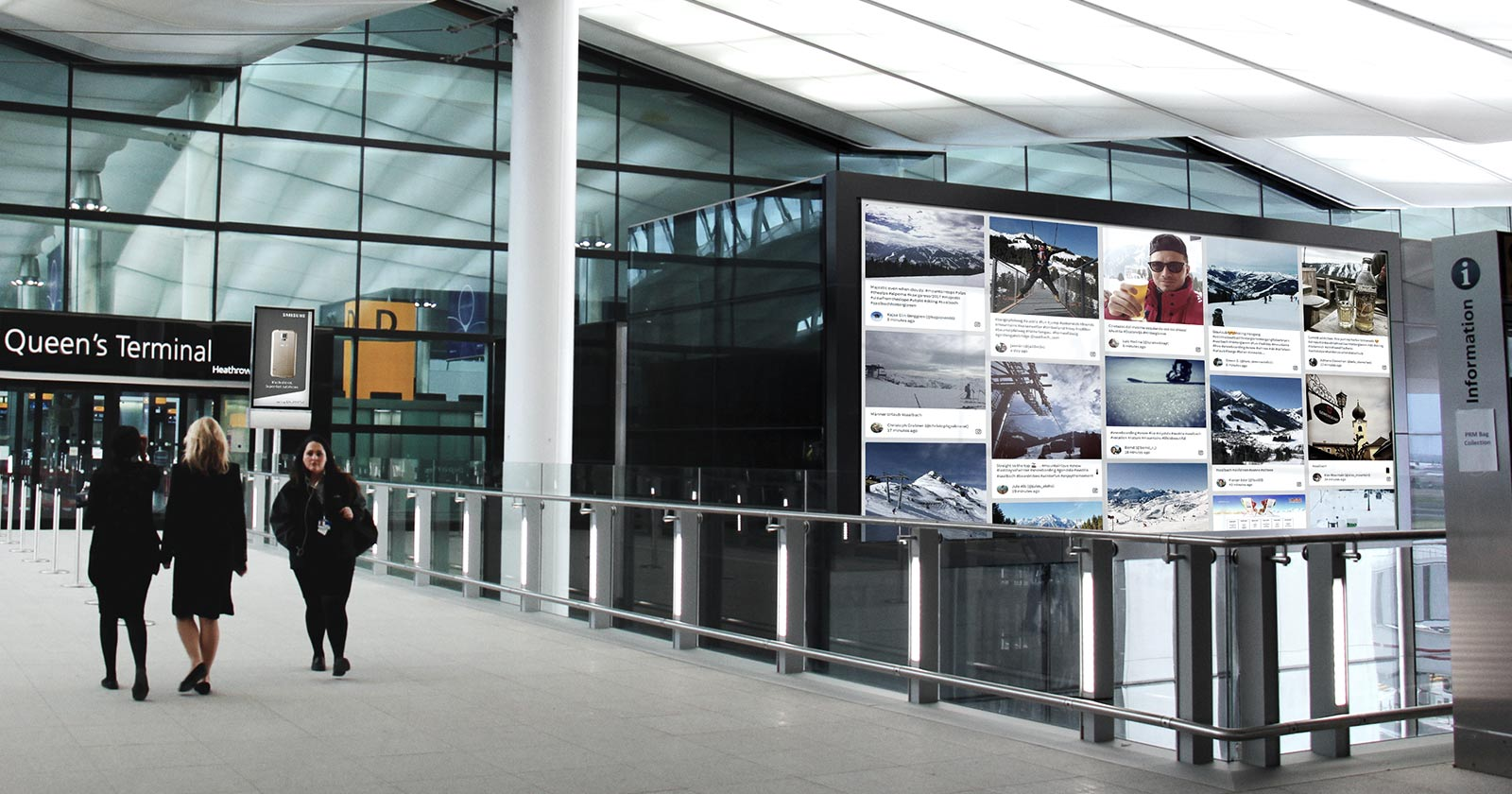 Heathrow airport showing a large digital signage screen with a social wall displayed on it.