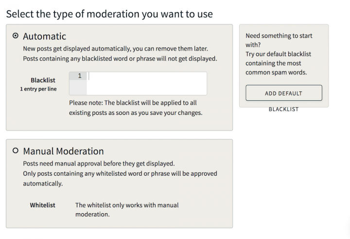 Walls.io moderation settings