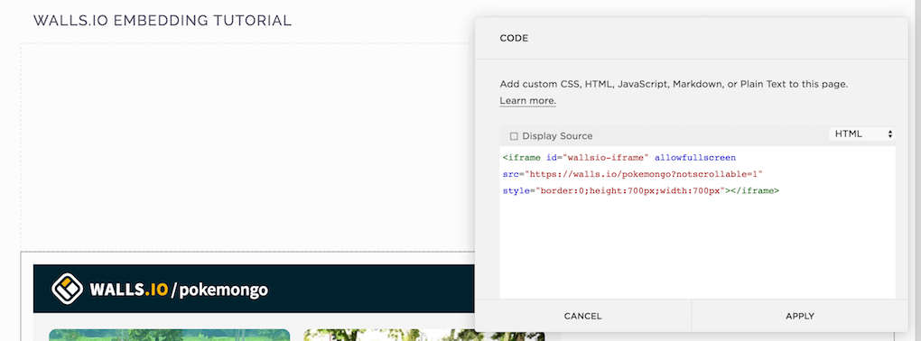 Copy your code snippet from Walls.io into your Squarespace code block.