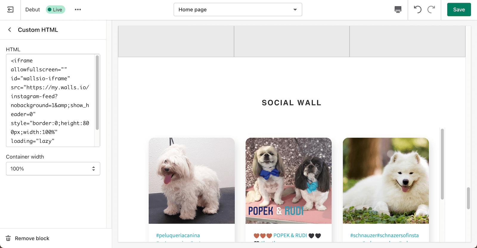 Screenshot showing the same page created with Shopify with the iframe code added in an HTML section on the left and the social wall full of dog pics embedded in the page preview.