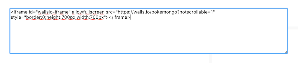 Paste your Walls.io embed snippet into the Weebly text field