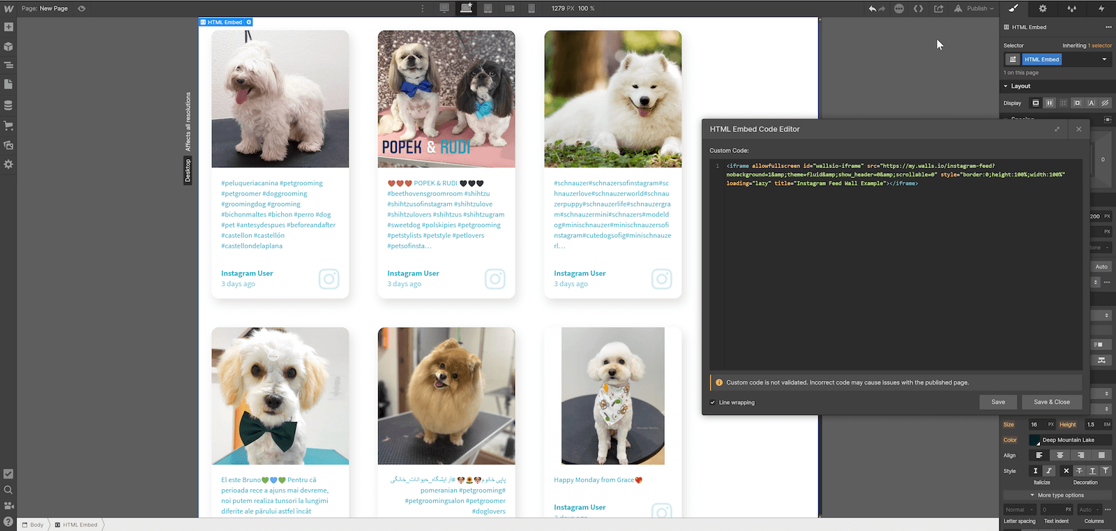 Screenshot showing a page on Webflow with an embedded social wall of cute dog pics. On the right hand side, you can see the embed code added to the HTML Embed Code Editor.