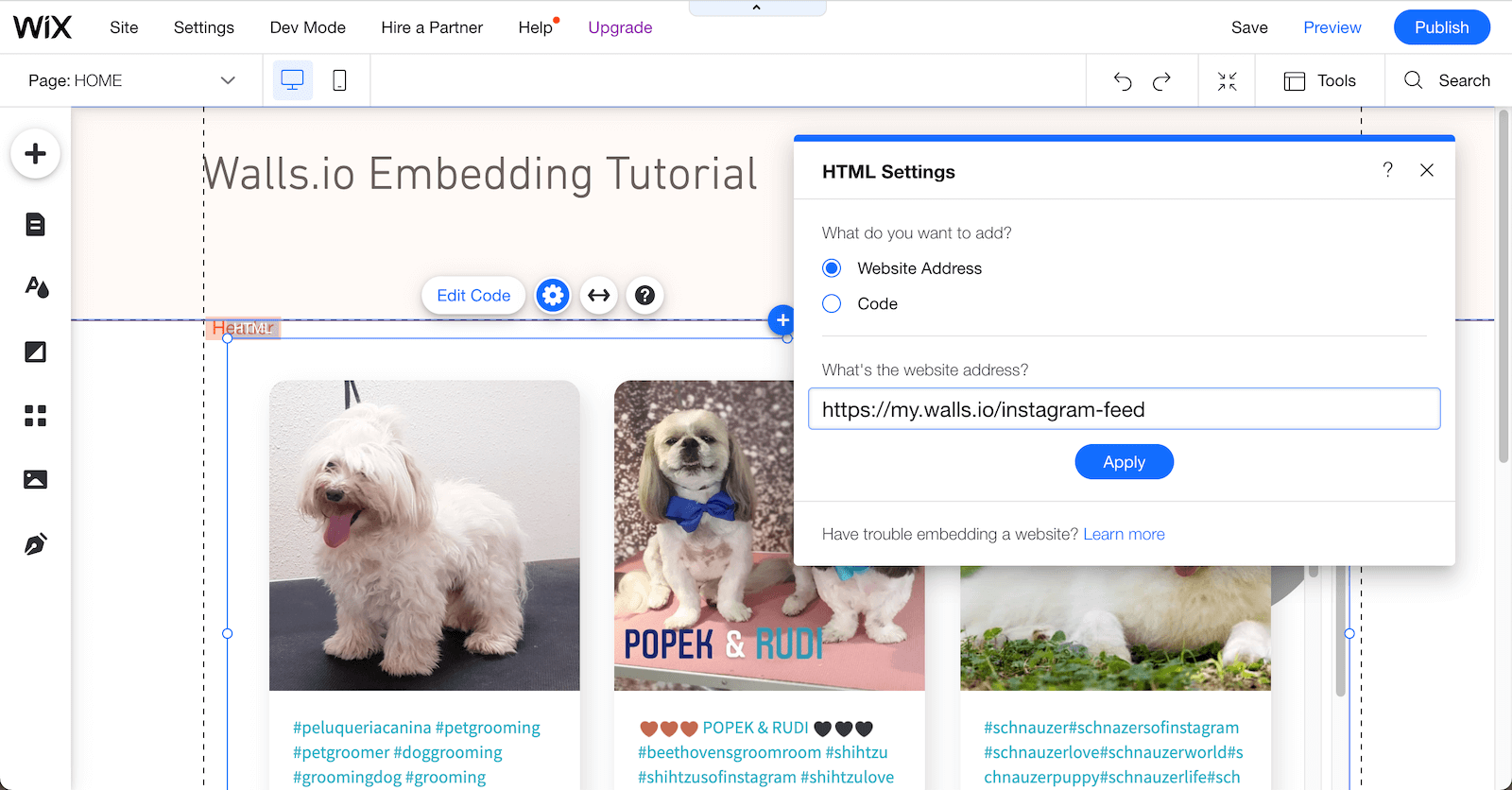 Another screenshot showing how to embed a social wall on a Wix page, this time using the Walls.io URL instead of the embed code. The social wall with dog pics is already populated on the page.