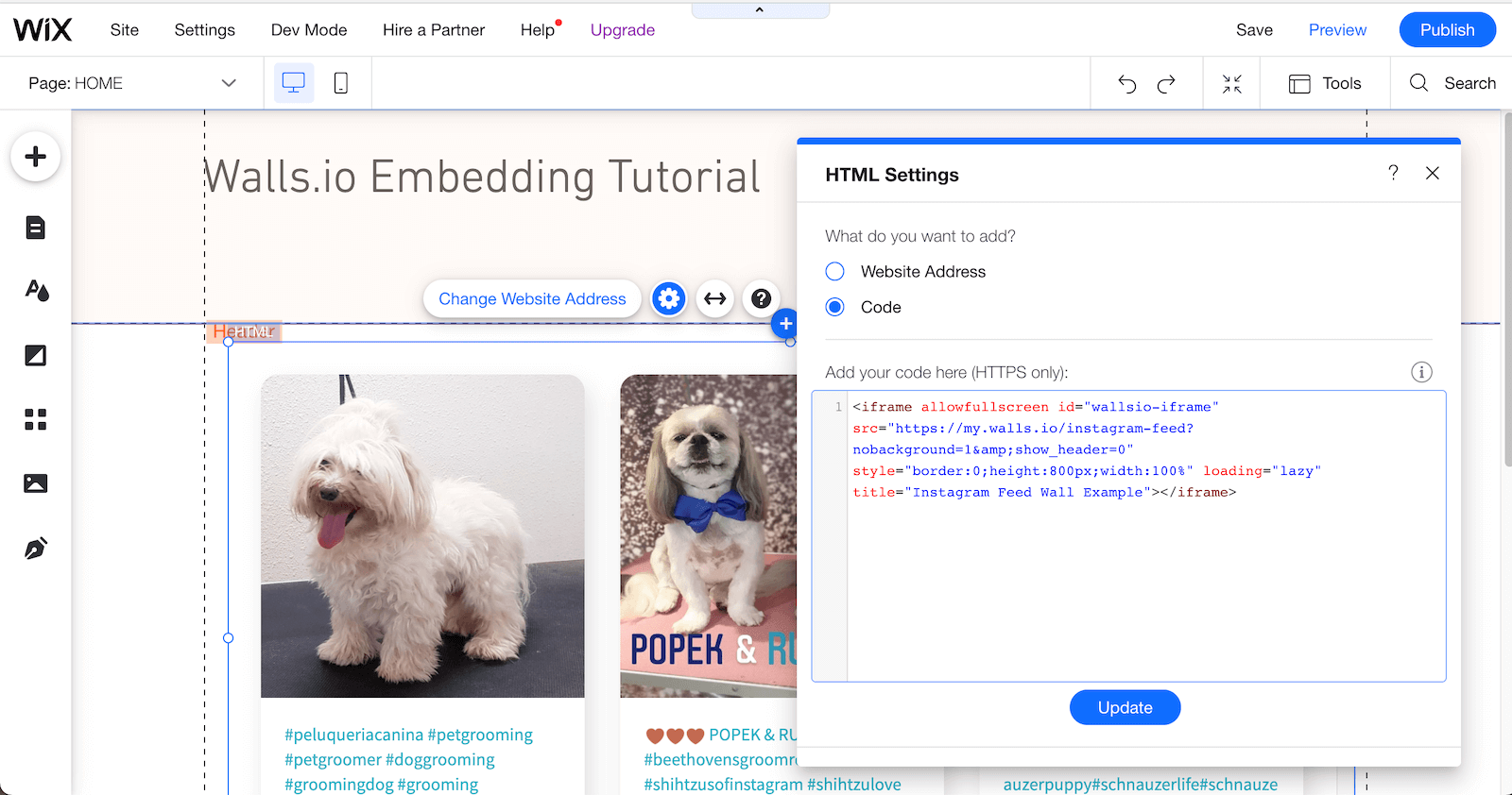 Screenshot showing how to add the embed code to a Wix page. The social wall with dog pics is already populated on the page.