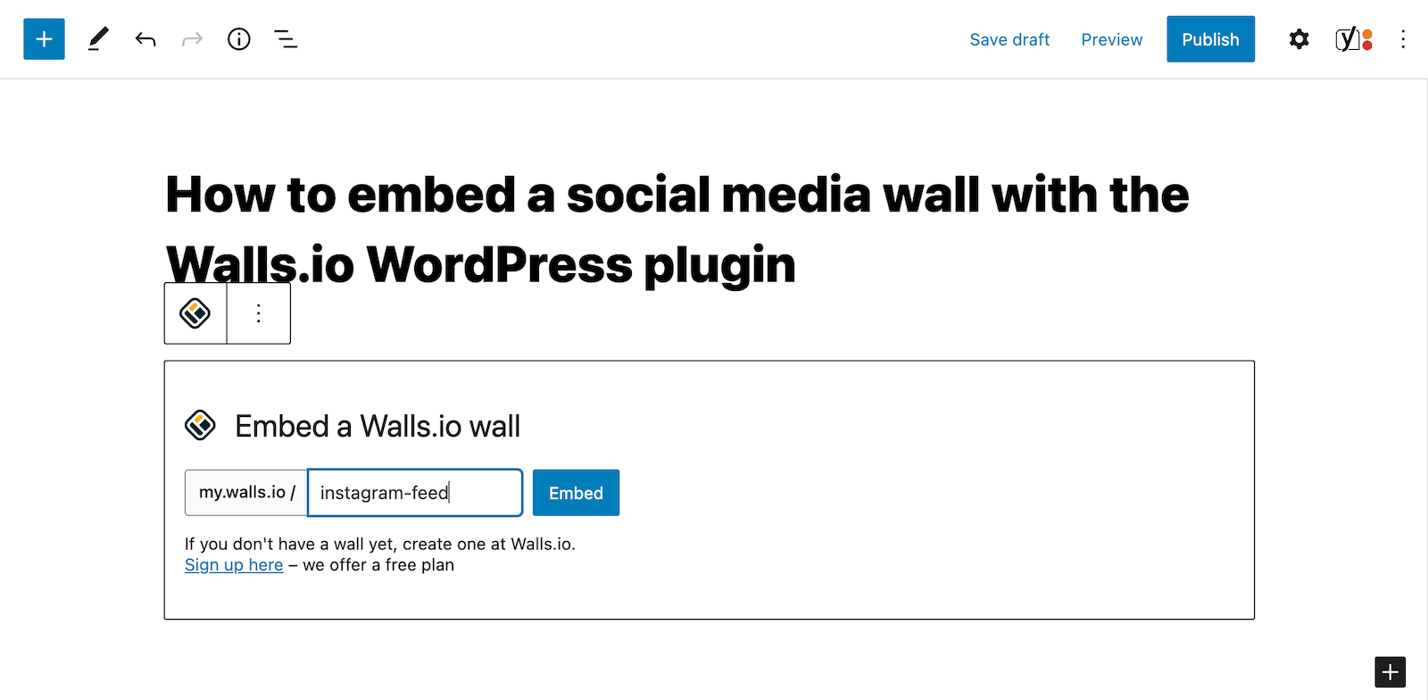 Screenshot of a page in the WordPress backend that shows where to add the social wall name to the plugin to embed the wall on the page.