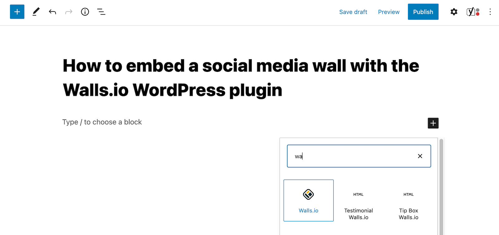 Screenshot of a page in the WordPress backend that shows how to add a Walls.io social wall to a content block.