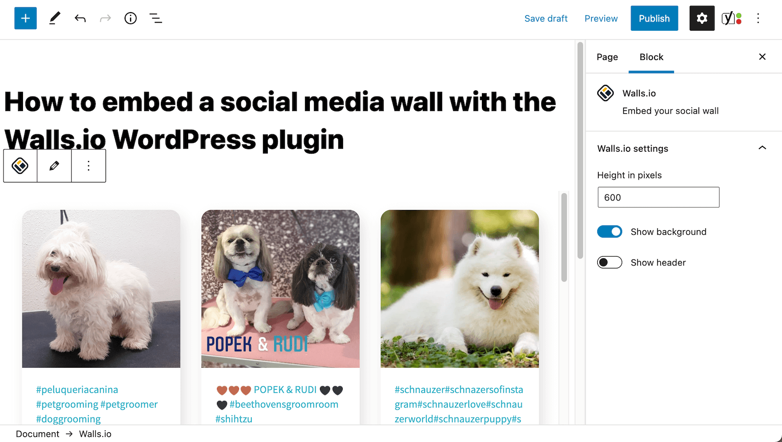 Screenshot of a page in the WordPress backend, which already has had a social wall full of dog pics added to it. On the right, a panel allows for changes to some of the parameters of the social wall.