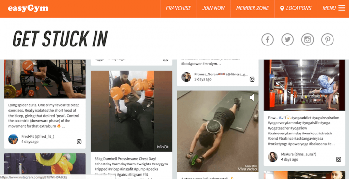Screenshot of easyGym's social media wall embedded on the easyGym website.