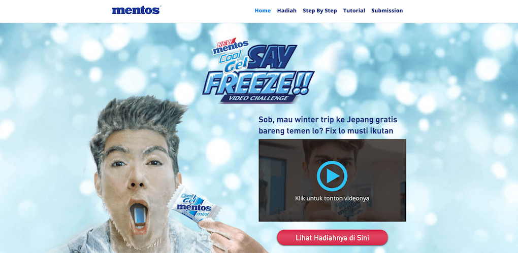 Screenshot from the Mentos Say Freeze microsite.