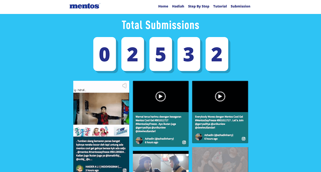 Screenshot showing the social media wall embedded on the Mentos Say Freeze microsite.