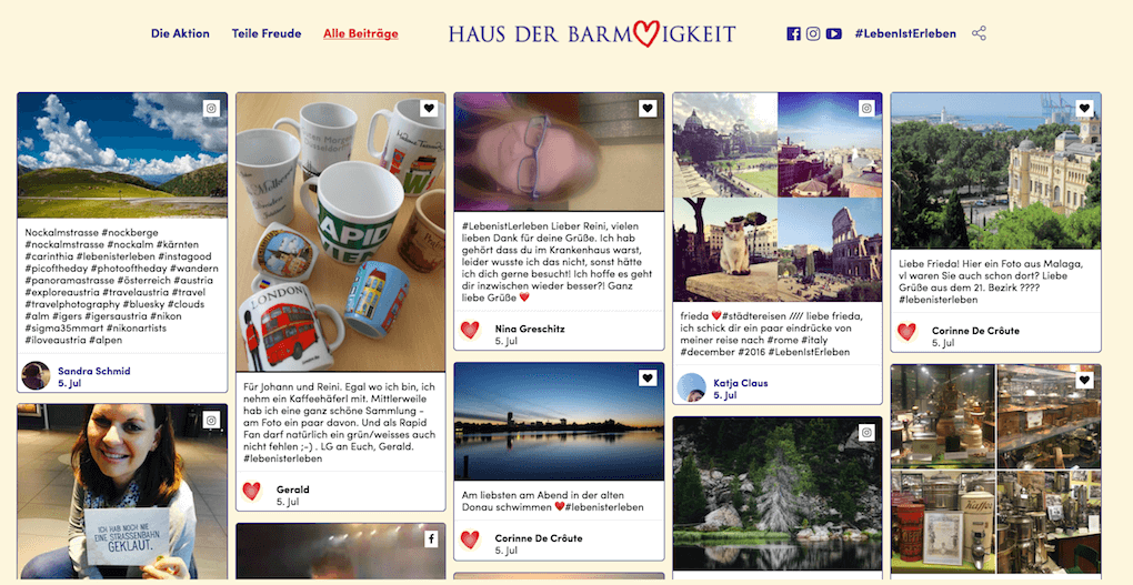 A screenshot of the leben-ist-erleben.at microsite showing the integrated social wall.