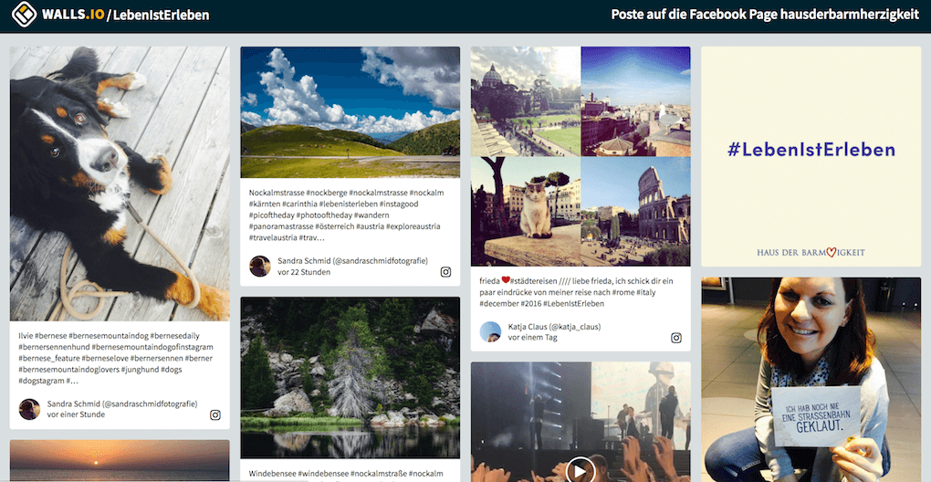 A screenshot of the #LebenIstErleben social wall directly on Walls.io.