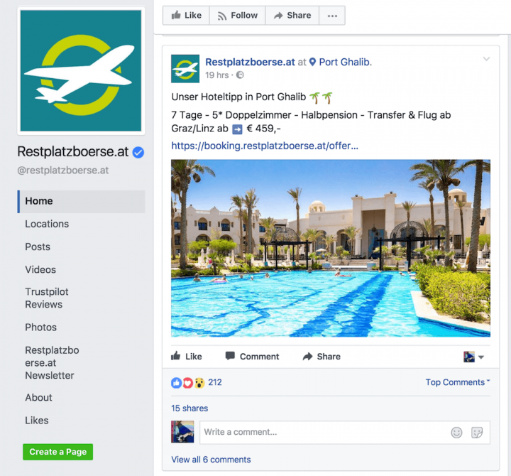 Screenshot of special offer from Restplatzboerse on Facebook