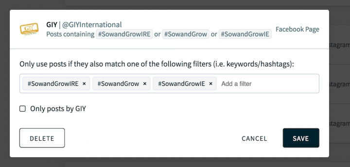 Screenshot of the Walls.io dashboard for the Ireland version of the Sow and Grow social media wall, showing how to filter so that the social wall only shows Ireland-specific posts.