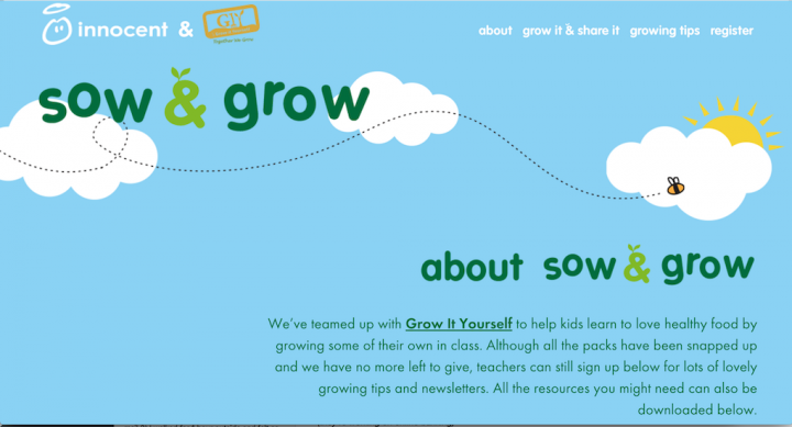 Screenshot of the innocent Sow and Grow microsite explaining the basics of the campaign.