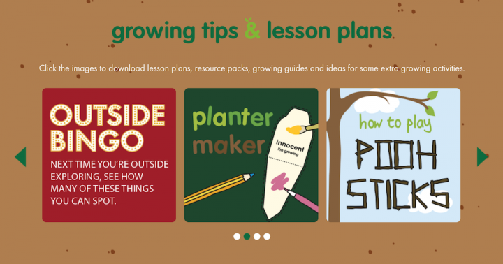 Screenshot of the resource section of the Sow and Grow microsite where users can download lesson plans and other resources about growing your own veg and fruit.