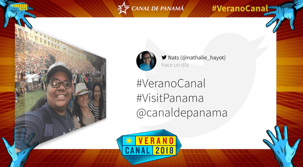 """Verano Canal social media wall uses elements from its website design to enhance the social media wall. Blue drawings of hands are shown """"holding"""" or framing the current social media post displayed on the wall and the Verano Canal 2018 logo sits prominently at the bottom of the wall."""