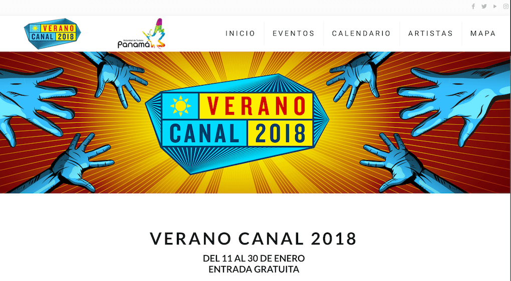 The Verano Canal website header shows the blue and yellow Verano Canal 2018 logo on a yellow-red background. From the left and right hands drawn in blue are reaching in towards the logo.