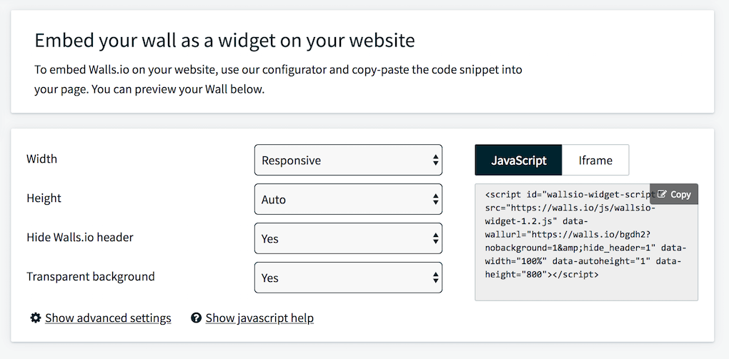 Screenshot from the Walls.io dashboard showing how to generate the code snippet for embedding a social media feed on a website.