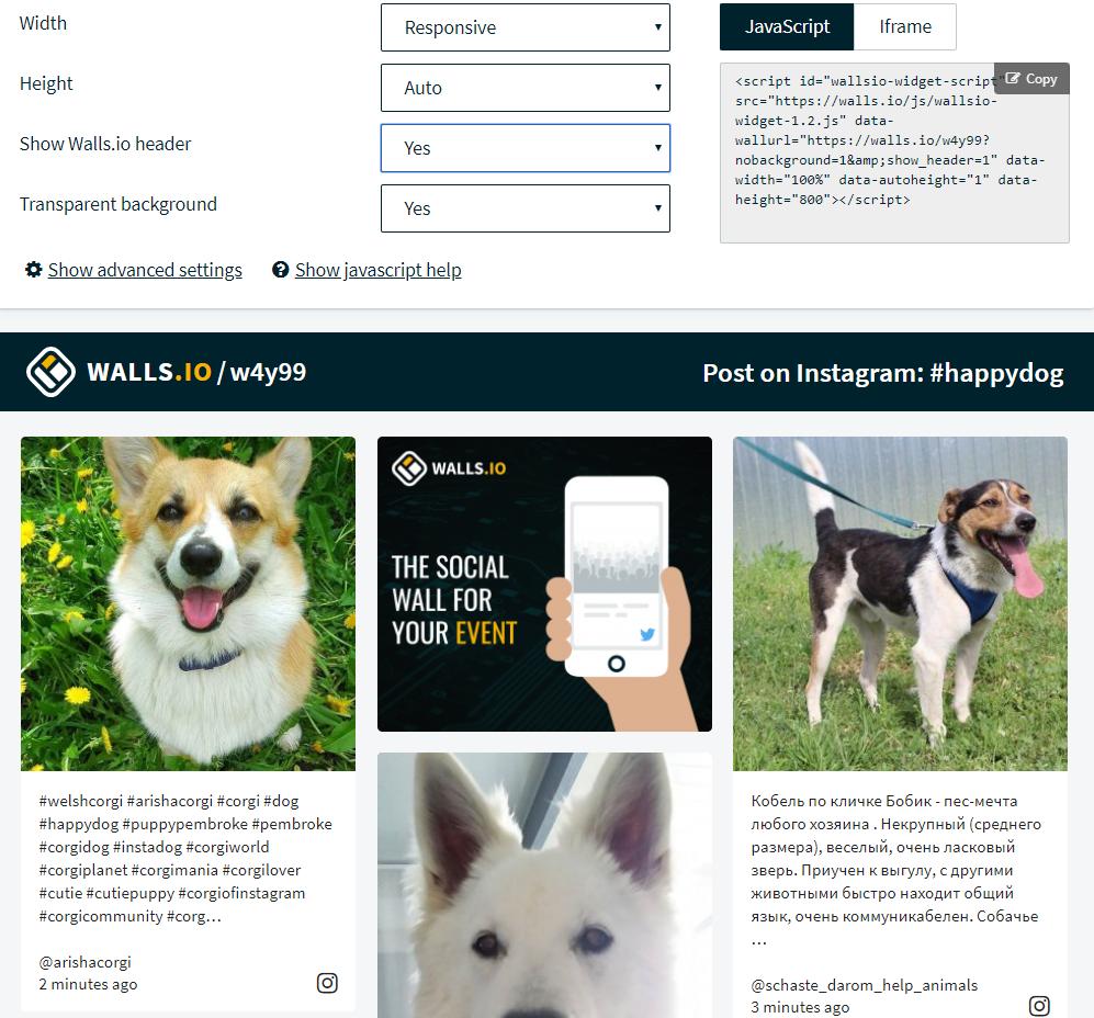 Social Media Feed Widget Embed by Walls.io