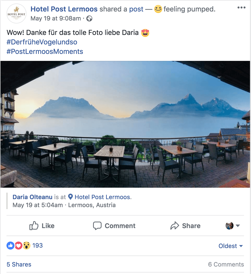 Facebook reshare by Hotel Post Lermoos of a user post showing the sunrise from the hotel terrace.