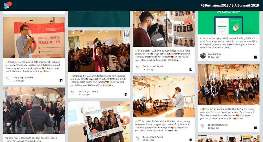 Screenshot of the social media wall set up for Social Impact Award 2018.