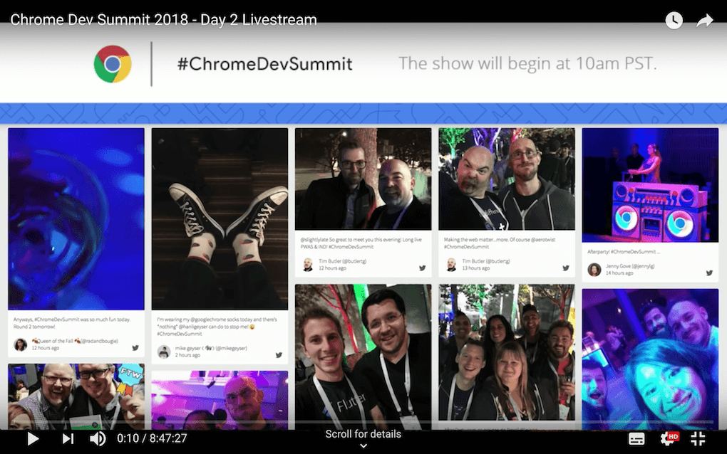 Screenshot from the Chrome Dev Summit showing the event's social wall on a big screen with the Walls.io Fluid theme layout (multiple posts nesting against each other on the social wall).