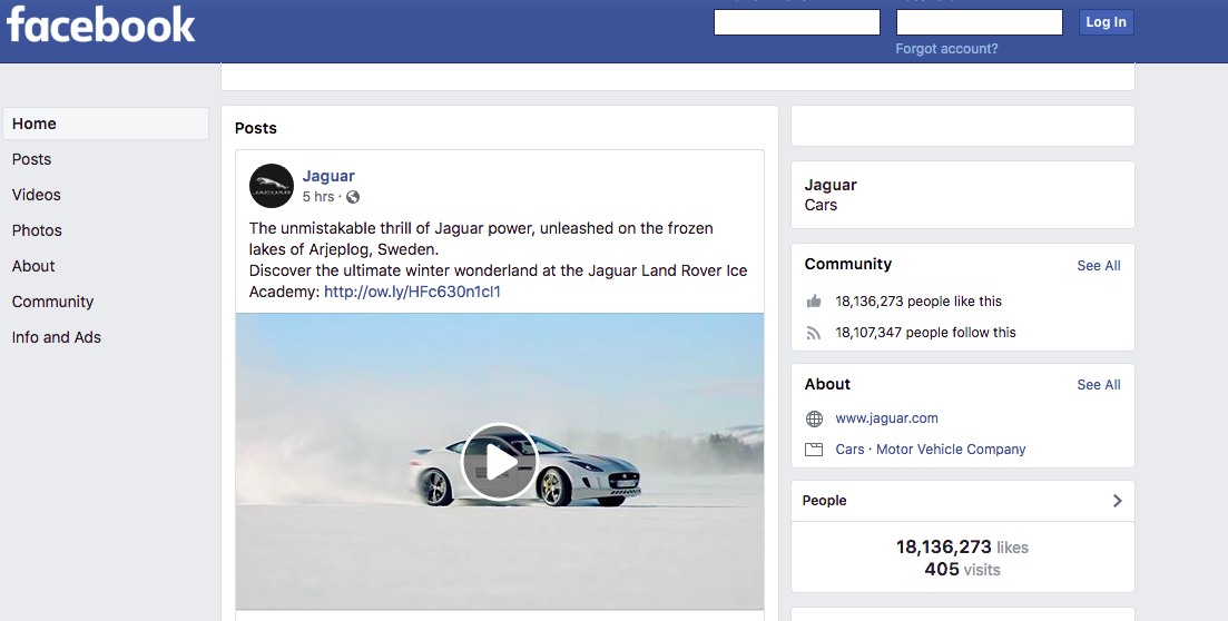 Jaguar Facebook Page