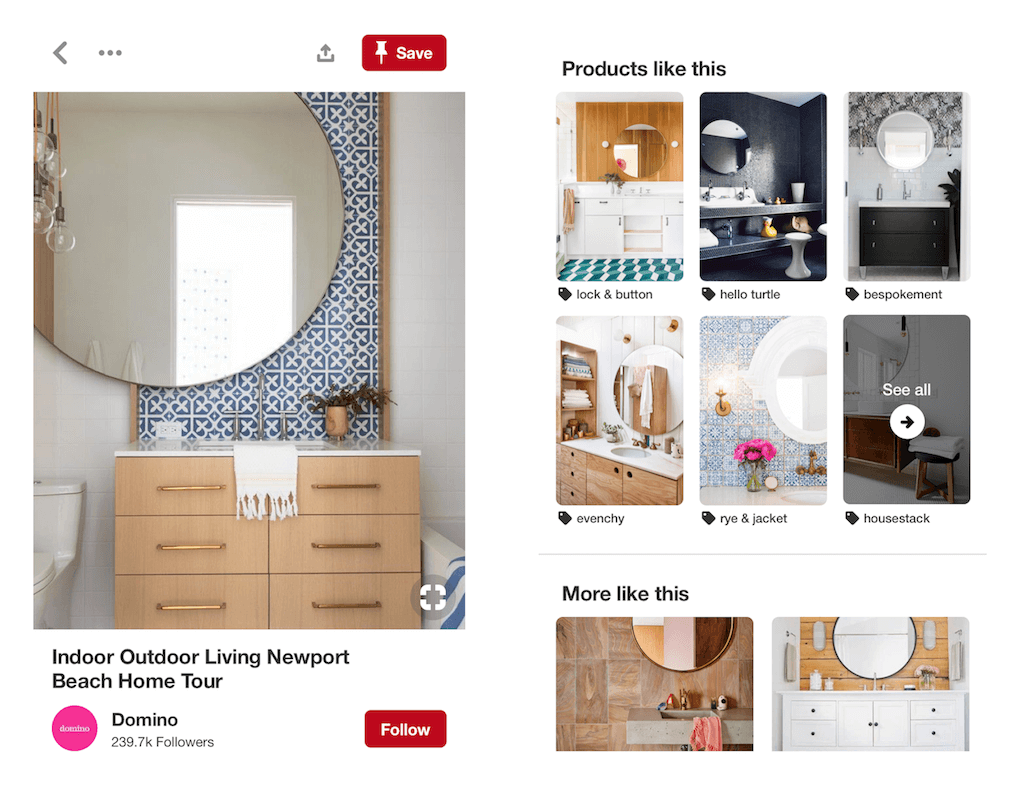 "A screenshot showing how Pinterest suggests similar items to the bathroom features in a Pin with a ""Products like this"" section next to the original Pin."