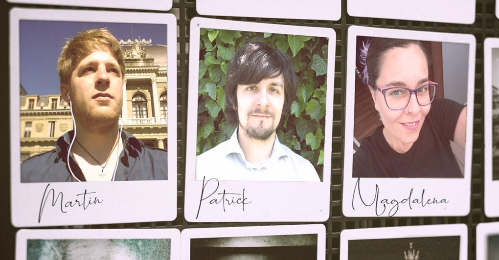 Three polaroid-like pictures showing team members Margin, Patrick and Magdalena in photos.